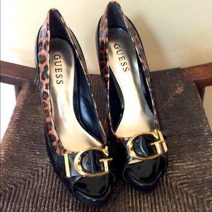 Guess Cheetah Print Peep-toe Stilettos